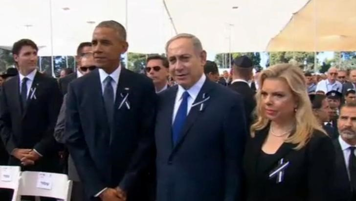 Obama and Other World Leaders At Shimon's Funeral