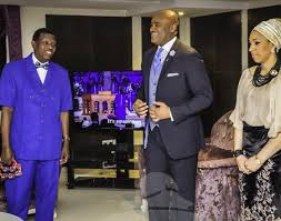 Pastors Paul and Ifeoma Adefarasin with the General Overseer of the RCCG, Pastor E.A. Adeboye at Pastor Paul Adefarasin's Mother's 90th birthday