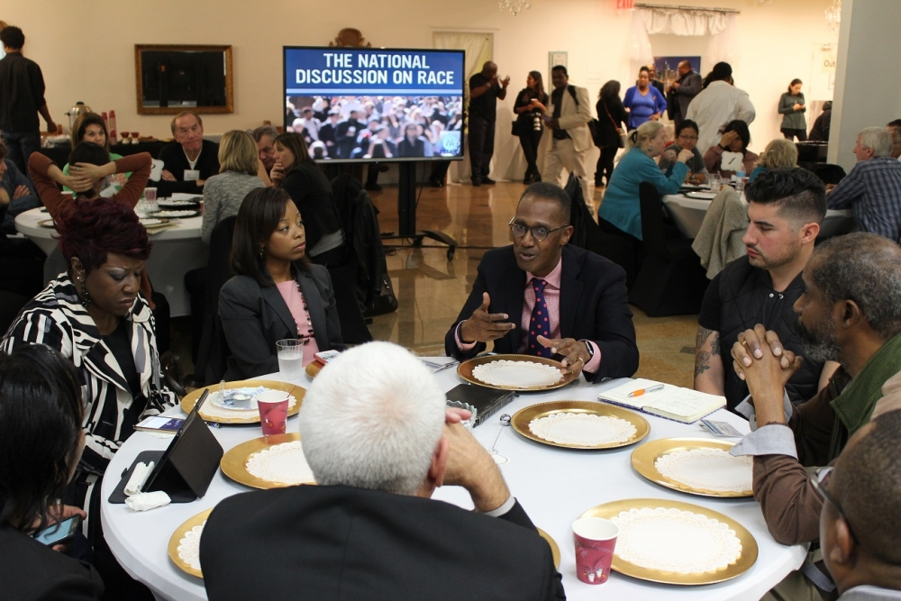 "Bishop Claude Alexander, senior pastor, The Park Church, Charlotte, North Carolina leads a discussion on race at the ""National Discussion on Race"" Conference convened by Movement Day Global Cities at Bethel Gospel Assembly in New York City, New York on Monday October 24, 2016."