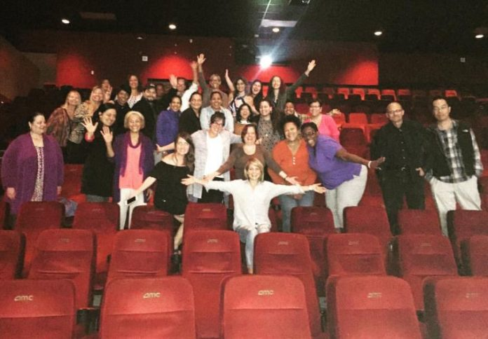 Candace Cameron Bure picture with strangers at the New York City cinema after a fervent prayer born out of her brother Kirk's live film event 'Revive Us' on Oct. 18, 2016.