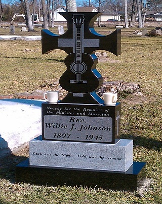 A monument to Blind Willie Johnson, placed in the Beaumont cemetry where he is believed to be buried, though no one knows where his grave is.