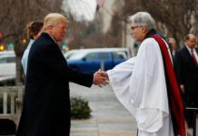 Rev Luis Leon greets President-elect Donald Trump and his wife Melania as they arrive