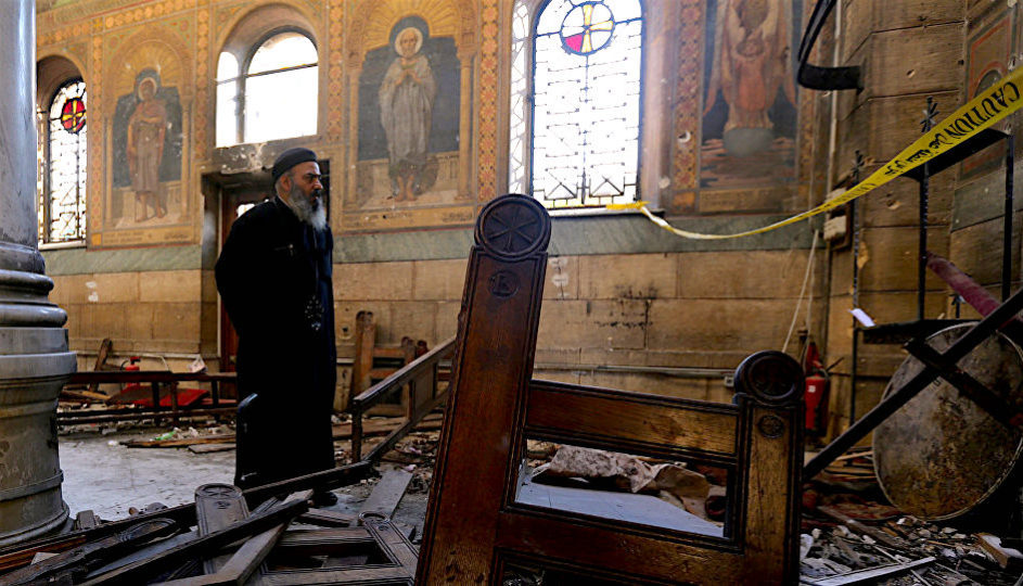 St Mark's Cathedral, the seat of the Coptic papacy, after the ISIS attack in December.