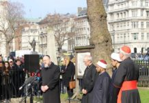 The Chief Rabbi with other faith leaders at the Westminster vigil