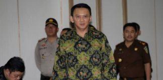 "Jakarta Christian Governor Basuki ""Ahok"" Tjahaja Purnama arrives for his court hearing in Jakarta, Indonesia, Thursday, April 20, 2017."