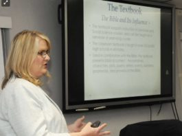 Amanda Aliff, the school system's coordinator of pupil services, presented a high school Bible studies class plan to The Mercer County Board of Education on Tuesday night